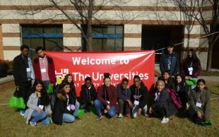Silver Spring Int'l MS G2C Students Posing at University of Maryland Shady Grove campus